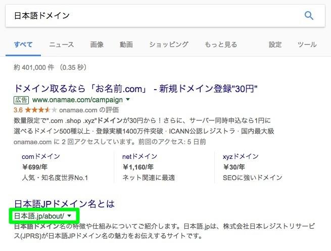 日本語ドメインの検索結果での表示