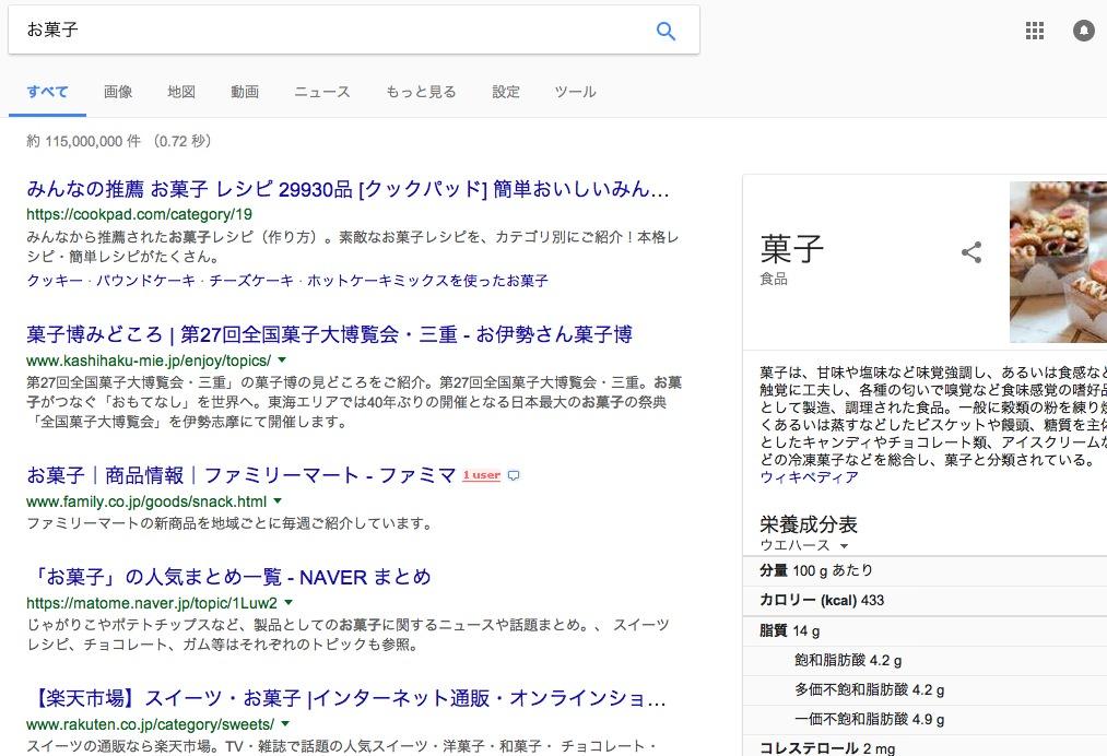 AdWords広告のない検索結果の画面