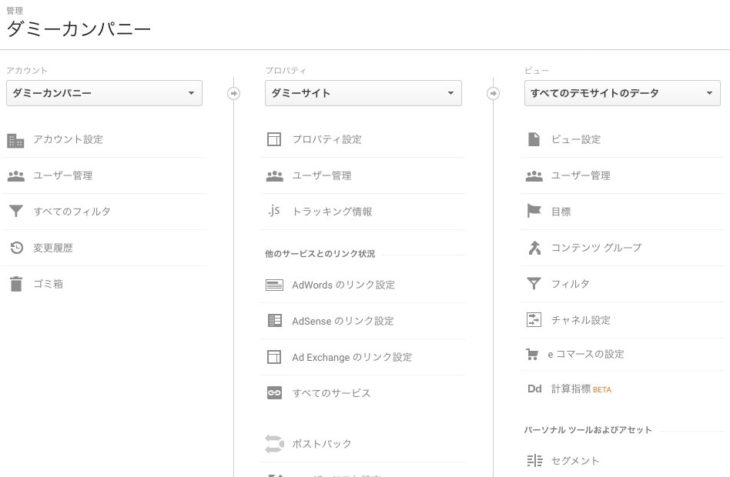 Googleアナリティクス 管理画面