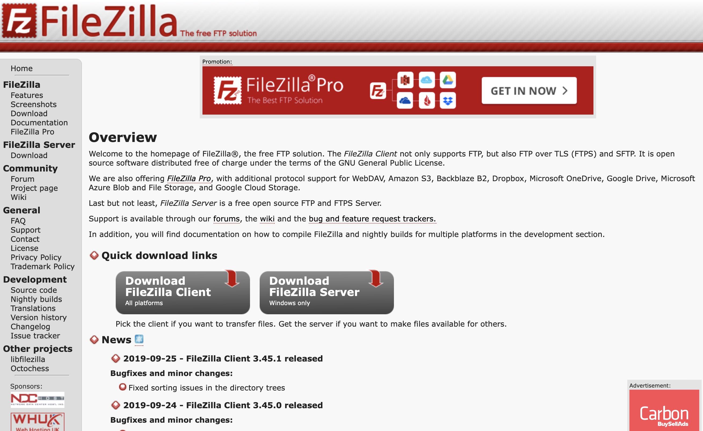 FileZilla 公式サイトキャプチャ