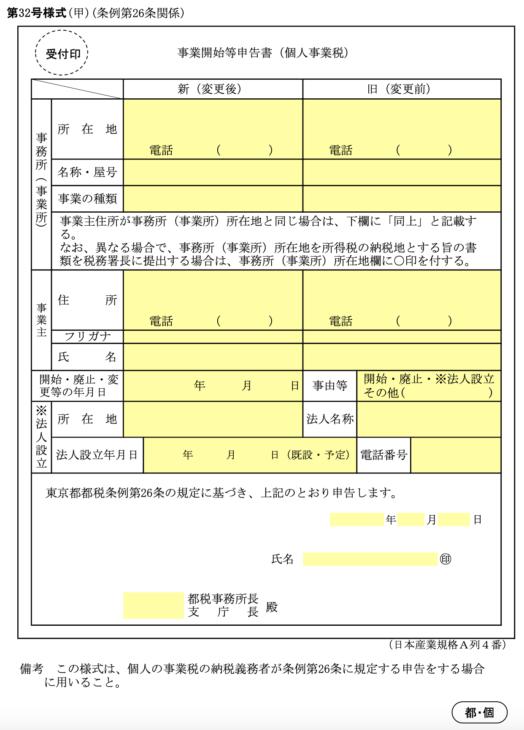 東京都事業開始等申告書 サンプル