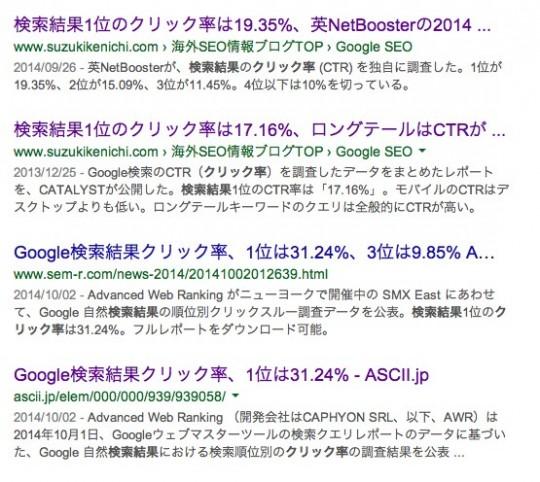 「検索順位 クリック率」の検索結果